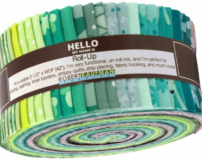 "Kaufman Terrarium Cool Elizabeth Hartman Roll Up Jelly Roll 2.5"" Strips Fabric"