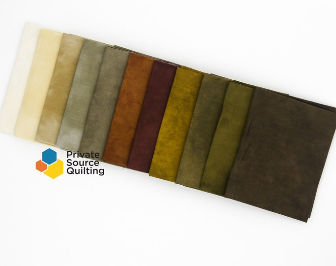 Windham Palette Cement Marcia Derse Green Brown Sage Rust Solid Cotton Fabric 11 Fat Quarter Bundle