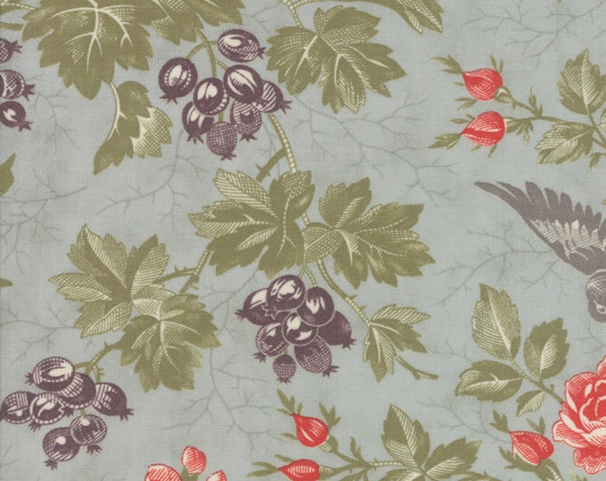 Moda 3 Sisters Quill Blue Pink Purple Floral Branch Fabric 44151-14 BTY