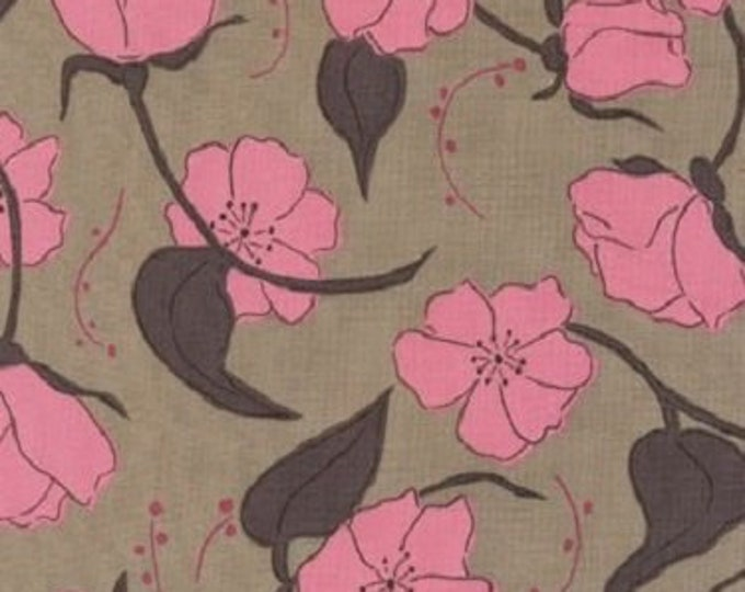 Free Spirit Cotton  Olive Rose Brown small roses  print Brown  background  07600-72  BTY