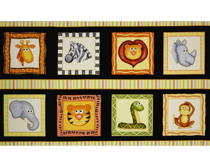 Quilting Treasures Jungle Buddies Lion Snake Monkey Kids Panel Black Fabric 26411-J BTP