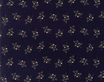 Moda Jan Patek Fern Hill Navy Blue with Tan Branch Berry Civil War Fabric 2186-16 BTY