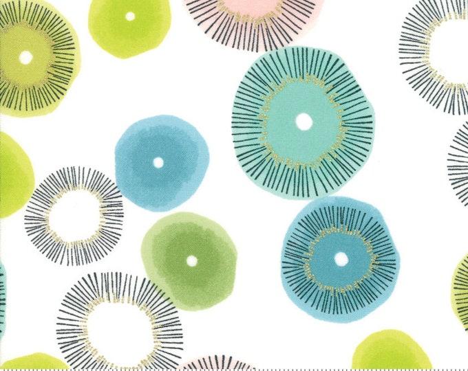 NEW Moda Zen Chic  Day in Paris Chalk White Blue Green Pink Bloom Blossom Metallic Fabric 1680-11M BTY