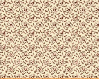 Windham Simply Red Mary Koval Cream Red Floral Civil War Reproduction Fabric 42895-2 BTY