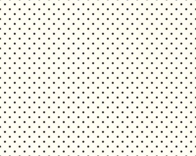Riley Blake Designs Small Dots on Cream BLACK c600 Cotton Fabric BTY