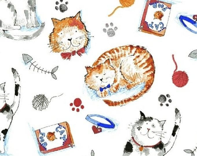 Windham Take Me Home White Cat Kitty Yarn Fish Kitten Paw Print Fabric 42990-3 BTHY