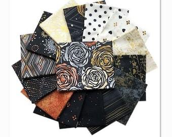 RJR Flaurie and Finch Precious Metals Black Copper White Metallic Modern Fabric 15 Fat Quarter Set