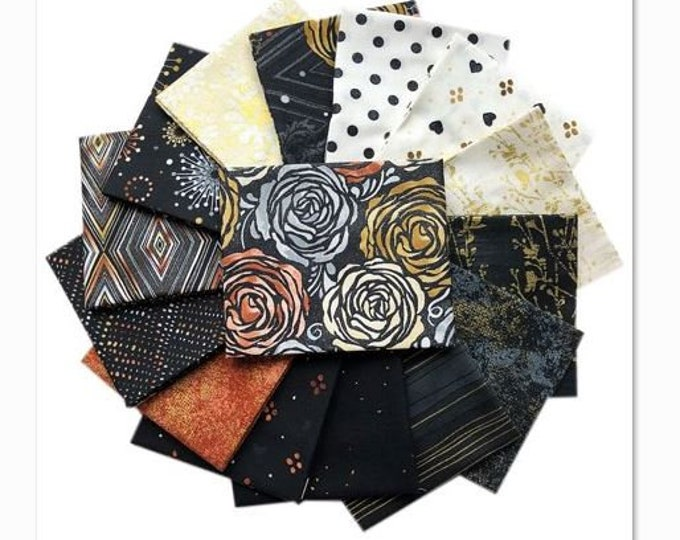 RJR Flaurie and Finch Shiny Objects Precious Metals Black Copper White Metallic Modern Fabric 15 Fat Quarter Set