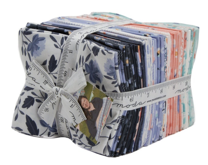 Moda Twilight by One Canoe Two Camping Pink Mint Navy Firefly Moth Floral 31 Fat Quarter FQ Bundle