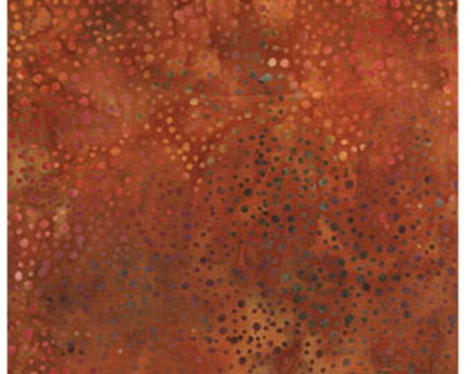 Island Batik Sand Dune Rust Brown Green Peach Dot Batik Fabric OOP 111624242 BTY