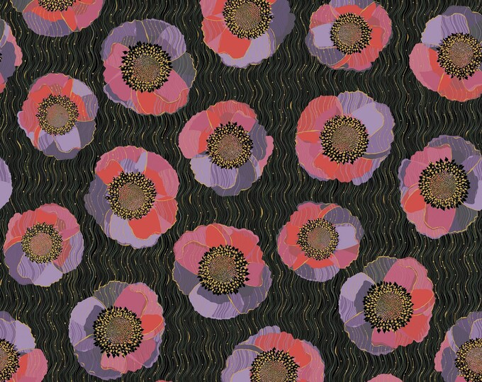 Quilting Treasures Bellisima Bellissima Packed Large Floral  Black Pink Purple Fabric BTY 26208-J