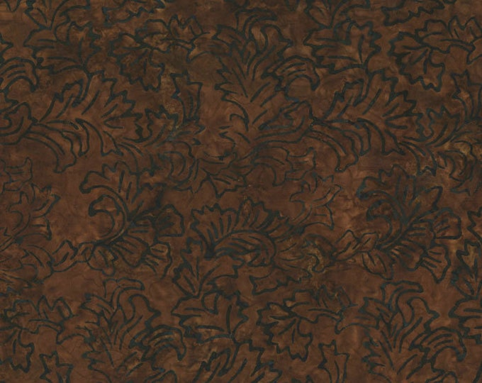 RJR Jinny Beyer Malam Batik Bark Brown with  Leaf Fabric 2142-004 BTY