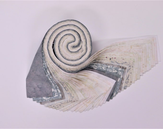 PSQ Exclusive Marble Cream, Gray, White Jelly Roll 42 2.5 Inch Batik Fabric Strips