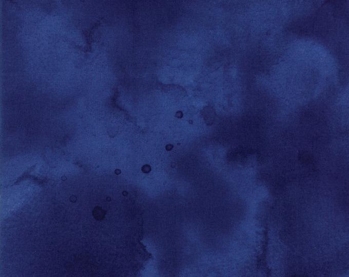 Moda Watercolor Marine Dark Blue Navy Indigo Tonal Mottled Background Fabric 26116-47 BTY