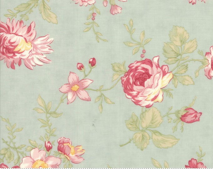 Moda POETRY Aqua Teal Blue Large Rose Floral 3 Sister's Shabby Fabric 44130-14 BTHY