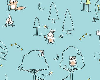 Ink and Arrow Fabrics Camp S'mores Smores Blue Scenic Camping Trailer Fabric BTY