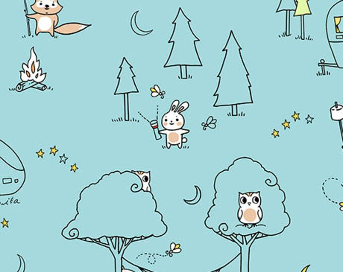 Ink and Arrow Fabrics Camp S'mores Smores Blue Scenic Camping Trailer Fabric BTHY