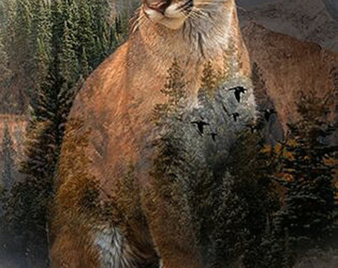 "pine cougar call of the wild 22"" x 43"" 100% cotton Hoffman Spectrum digital print"