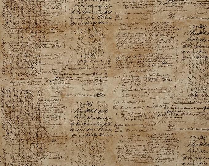 Free Spirit Tim Holtz - Dapper - Script Cursive Writing Fabric PWTH059 BTY