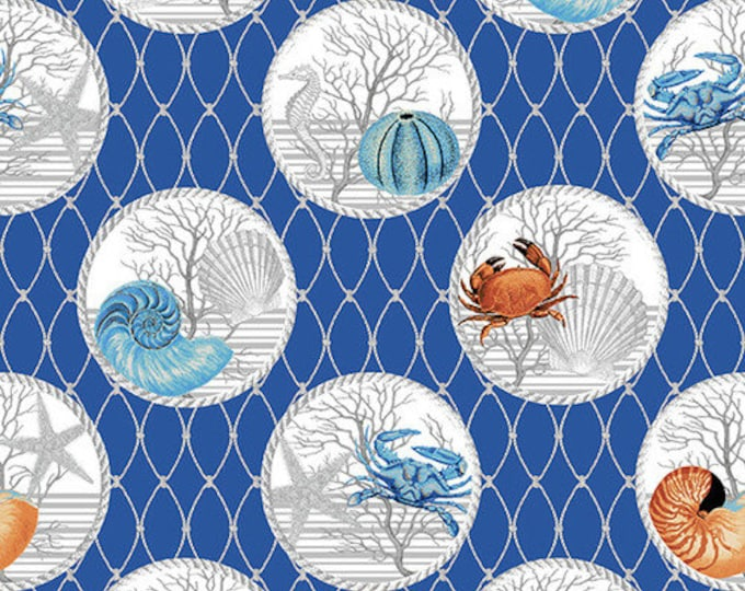 Henry Glass Calming Tide shells 1769 71 Crustacean in a Circle Quilt quilting Fabric Cotton BTY