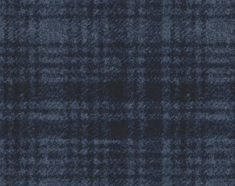 Maywood Woolies Navy on Blue Large Plaid FLANNEL Fabric 18501-N BTHY