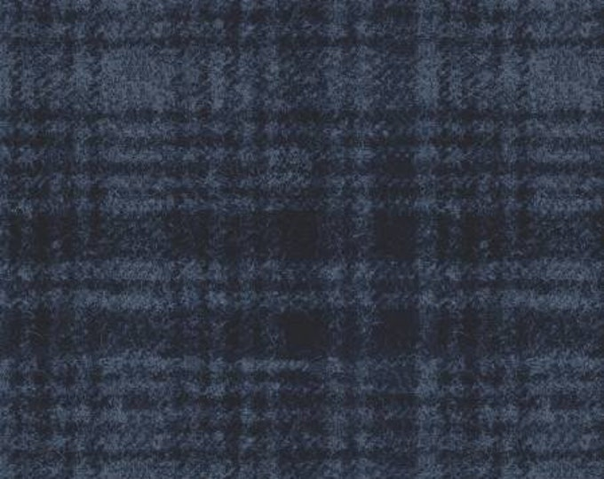 Maywood Woolies Navy on Blue Large Windowpane Plaid FLANNEL Fabric 18501-N BTHY