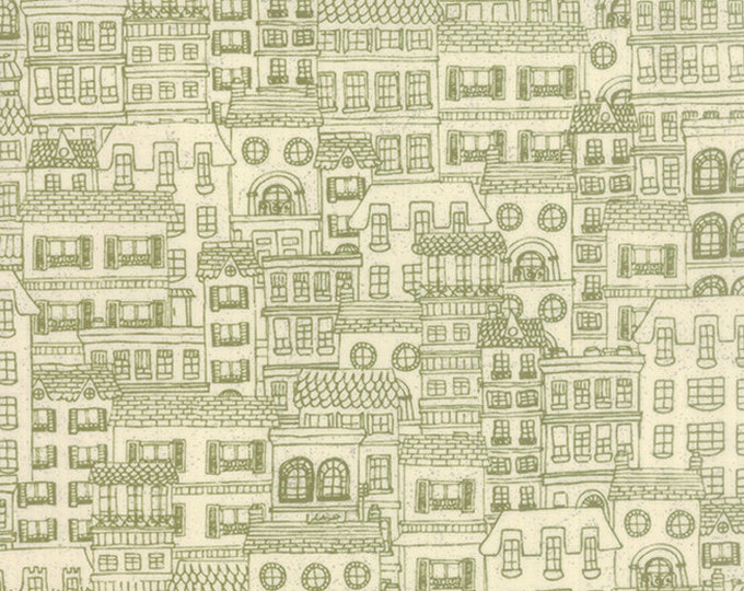 Moda Mon Ami Basic Grey Cream Off White Green Building Houses Fabric BTY 30416-12