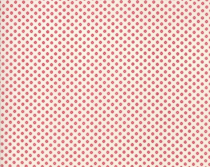 Moda Liberty Gatherings Red with Cream Off White Tan Circle Dot Fabric 1206-21 BTY