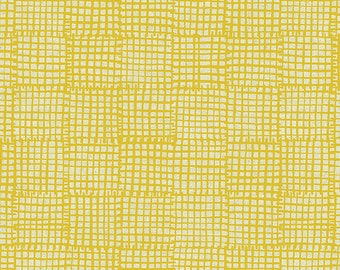 Andover Maker Maker Cotton Canvas Linen Unbleached Yellow Line Grid Fabric 8546-Y BTY