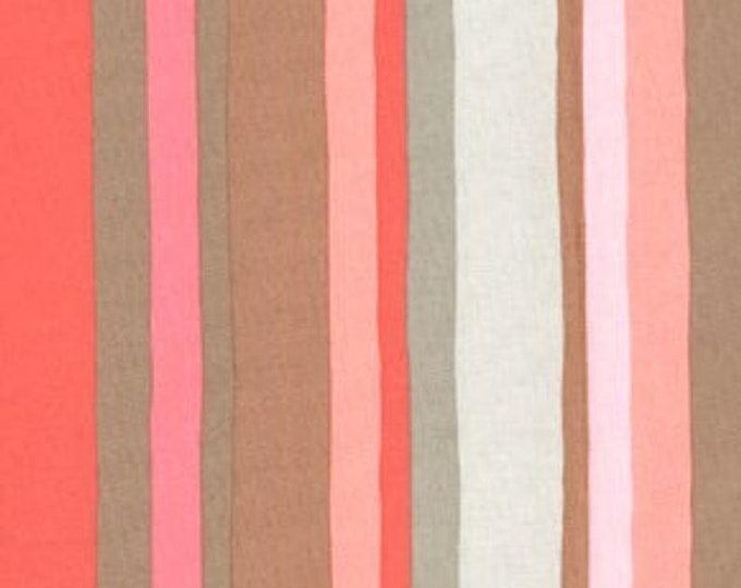 Free Spirit  Olive Rose Fabric Valori Wells -Olive Stripe Color Pink Cotton 07600-71 BTY