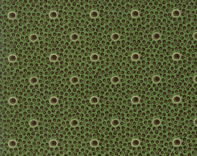 Moda Betsy Chutchian Hopes Journey Spring Meadow Civil War Green Brown Dot Fabric BTY 31536-13