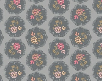 Marcus Nancy Rink On Plumberry Lane Grey Tan Pink Circle Floral Fabric 2273-0143 BTY