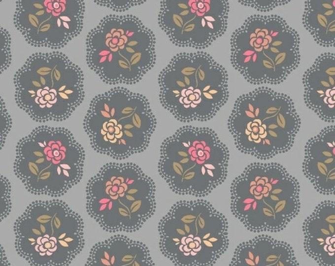 Marcus Nancy Rink On Plumberry Lane Grey Tan Pink Circle Floral Fabric 2273-0143 BTY