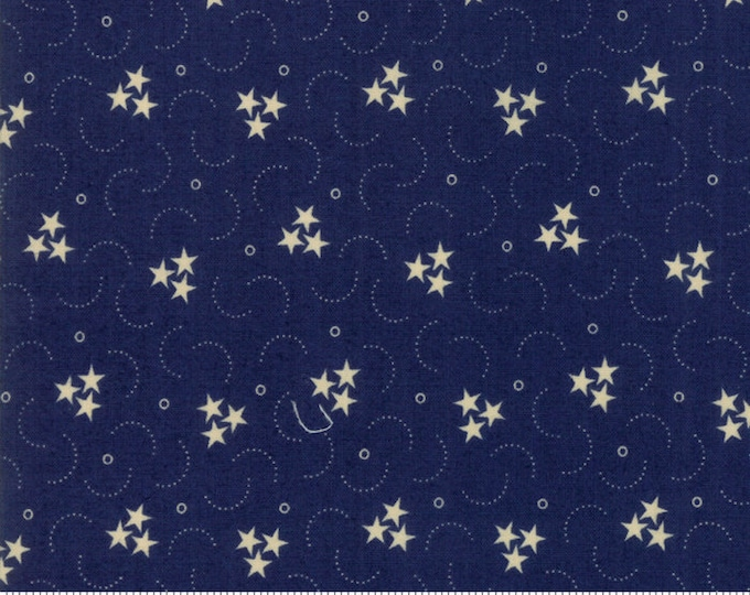 Moda Star and Stripe Gatherings Blue with Cream Stars and Dots Fabric 1261-17 BTY