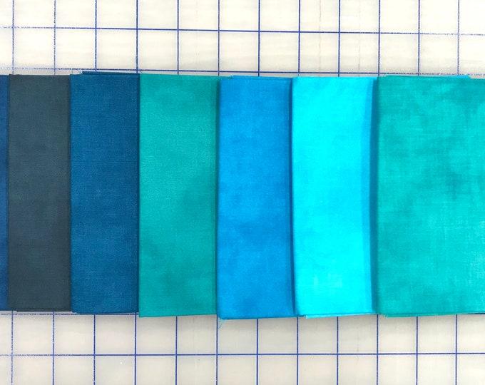 Windham Palette Ocean Marcia Derse Blue Teal Turquoise Aqua Navy Solid Cotton Fabric 7 Fat Quarter Bundle