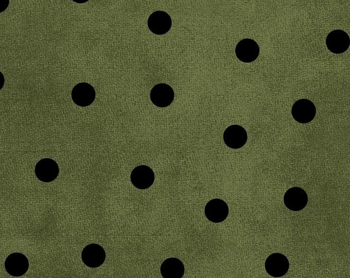 Maywood WOOLIES Most Wonderful Time Holiday Christmas Green Black Polka Dot Flannel Fabric 9214-GJ BTHY