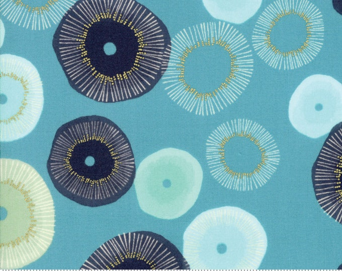 NEW Moda Zen Chic  Day in Paris Teal Blue Green Bloom Blossom Metallic Fabric 1680-16M BTY