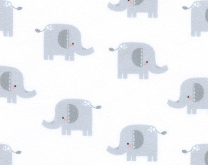 Kaufman Welcome Baby Flannel Lucy Belfield Elephant Gray White Boy Girl Kid Fabric 17892-12 BTY