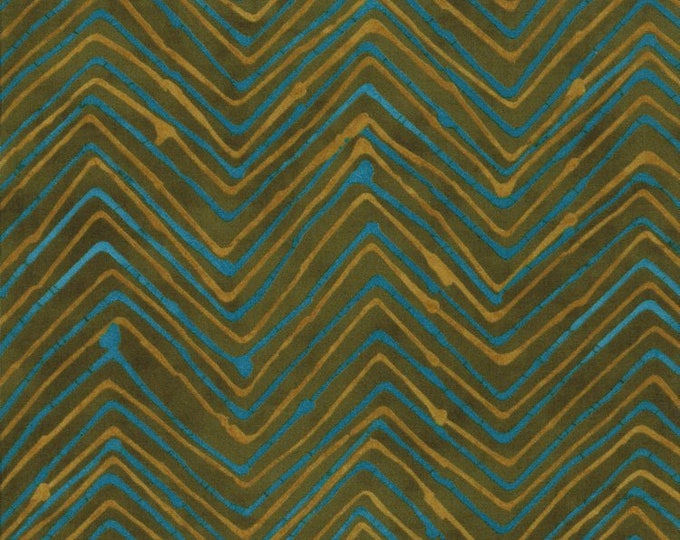 Moda Simple Marks summer Fabric Cotton Blue and GOld zigzag on green Background 23226-17   BTY