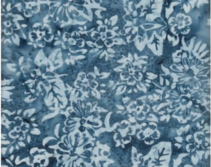 Anthology Art Inspired Batik Medium Blue Floral Leafy Style Fabric 20140 BTY