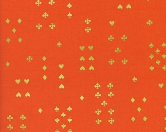 Cotton and Steel Rifle Paper Co Wonderland Orange Gold Metallic Suit Clubs Hearts Spades Cards Fabric 8021-002 BTY