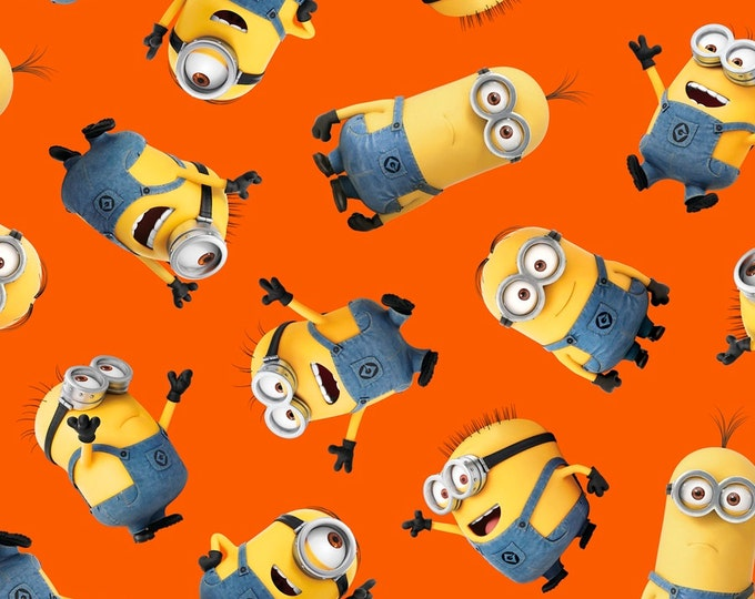 Despicable Me Minion Tossed Orange Bob Kevin Stuart Fabric BTY 1 Yd