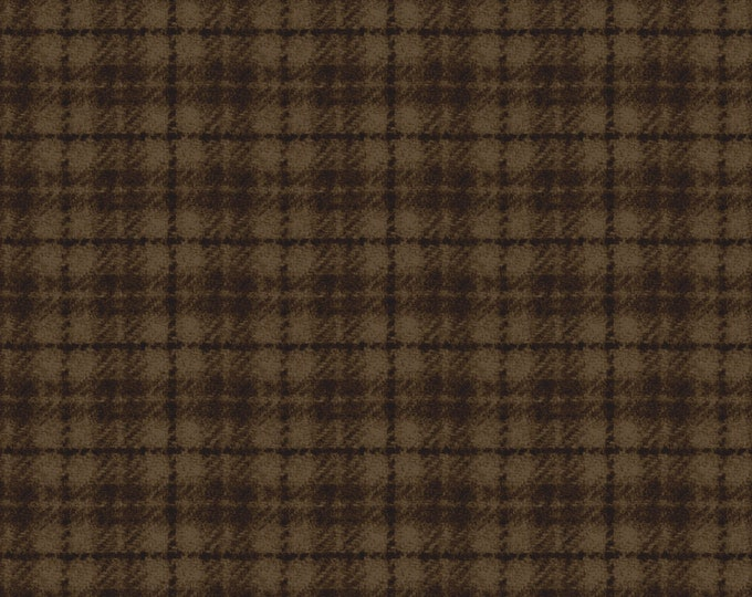 Maywood Woolies Medium Brown Plaid FLANNEL Fabric 18502-A BTY