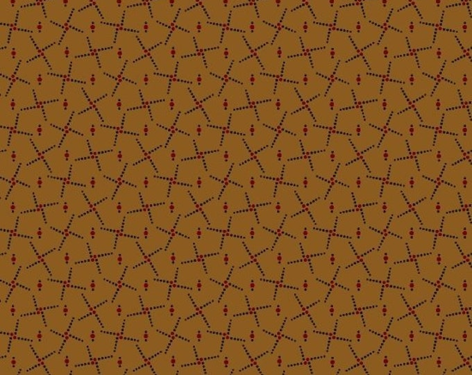 Marcus Pam Buda Prairie Basics Brown Black Red Civil War Print Fabric 7688-0140 BTY