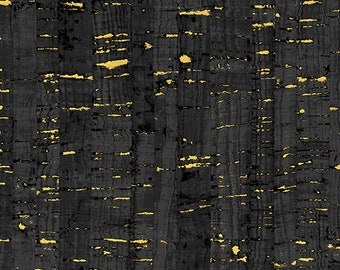 Windham Uncorked Cork Gold Metallic Black Gray Charcoal Fabric 50107M-01 BTY