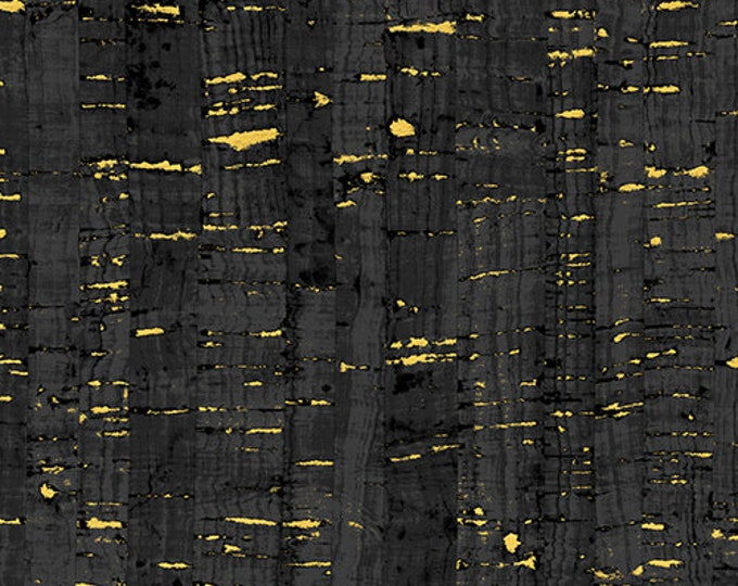 Windham Uncorked Cork Gold Metallic Black Gray Charcoal Fabric 50107M-01 BTHY