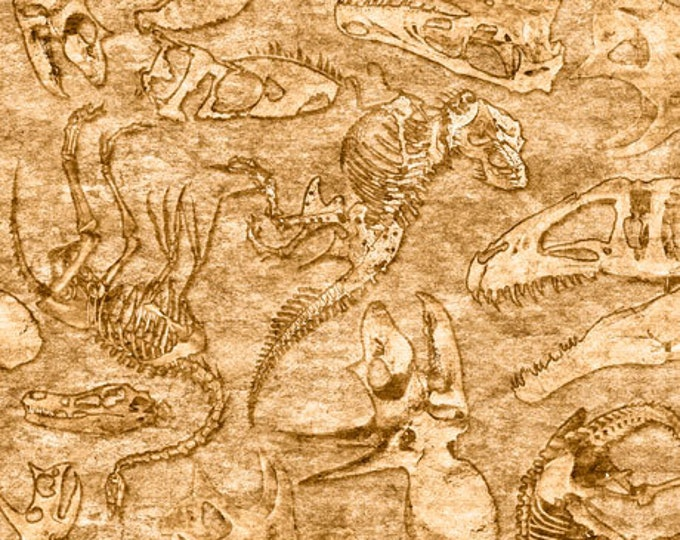 Quilting Treasures Lost World Realistic Dinosaur Dan Morris  Fossils Fabric Tan Beige 26803-E BTY