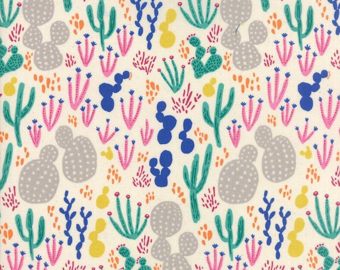 Moda Yucatan Sandbar White Colorful Cactus Pink Annie Brady Fabric 16710-11 BTY