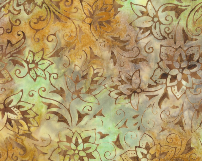 Anthology Art Inspired Batik Pierre Renoir Girls At the Piano Twist Green Brown Floral Fabric 255Q-2 BTY