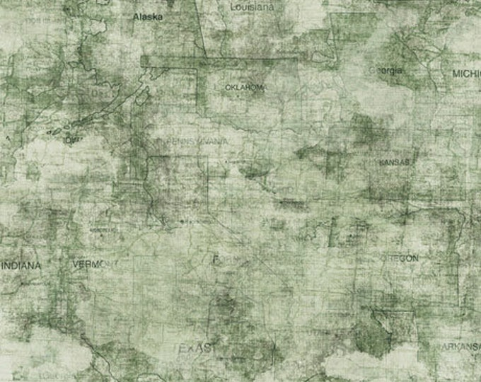 Quilting Treasures Backcountry Dan Morris Forest Green Map Blender Camping Outdoor Fabric 26736-H BTY